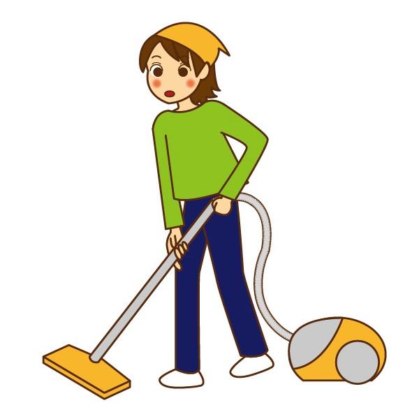 掃除する女性のイラスト