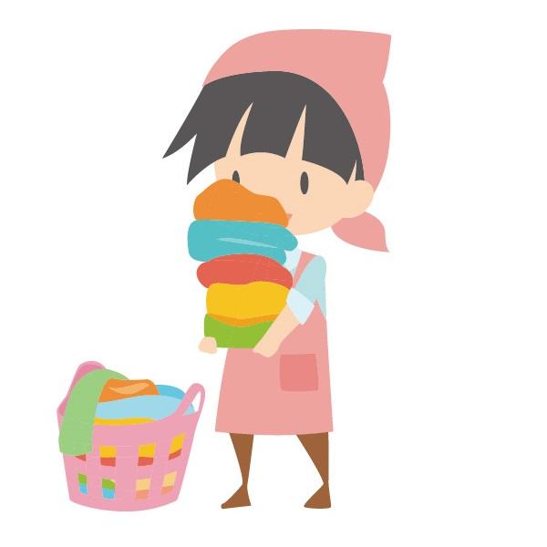 洗濯物を手伝う子供のイラスト