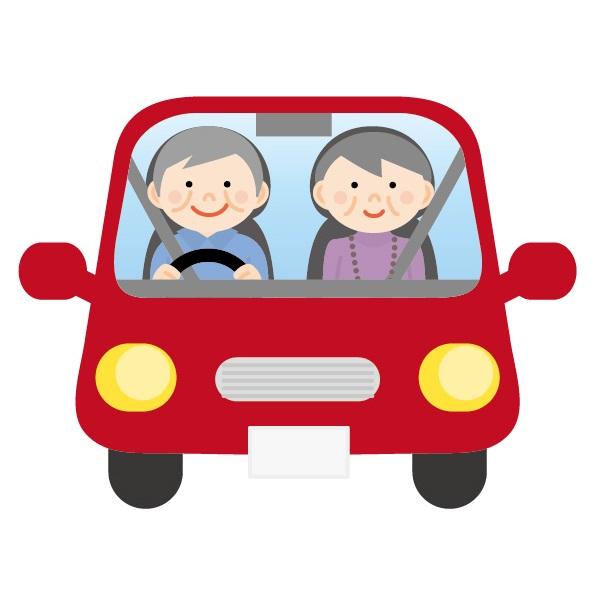 ドライブする老夫婦のイラスト