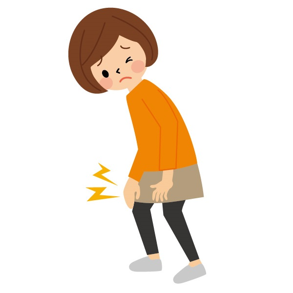 膝が痛む女性のイラスト
